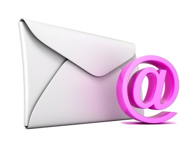 Envelope and pink email symbol. 3D render